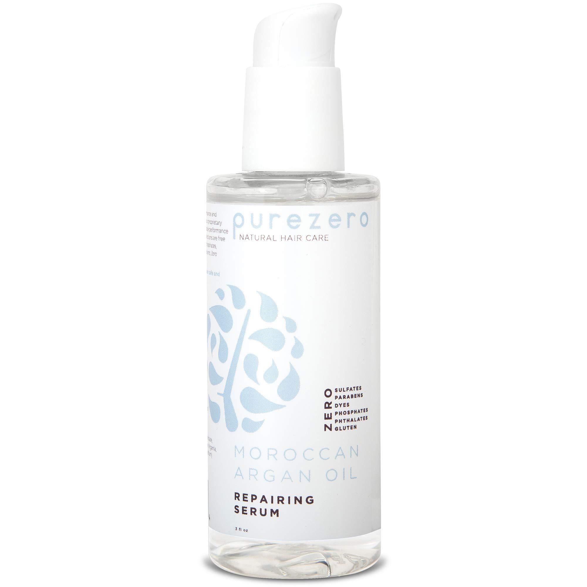Purezero Moroccan Argan Oil Repairing Serum - Repair Dry, Damaged Hair - Increase Hydration & Shine - Zero Sulfates, Parabens, Dyes, Gluten - 100% Vegan & Cruelty Free - Great For Color Treated Hair