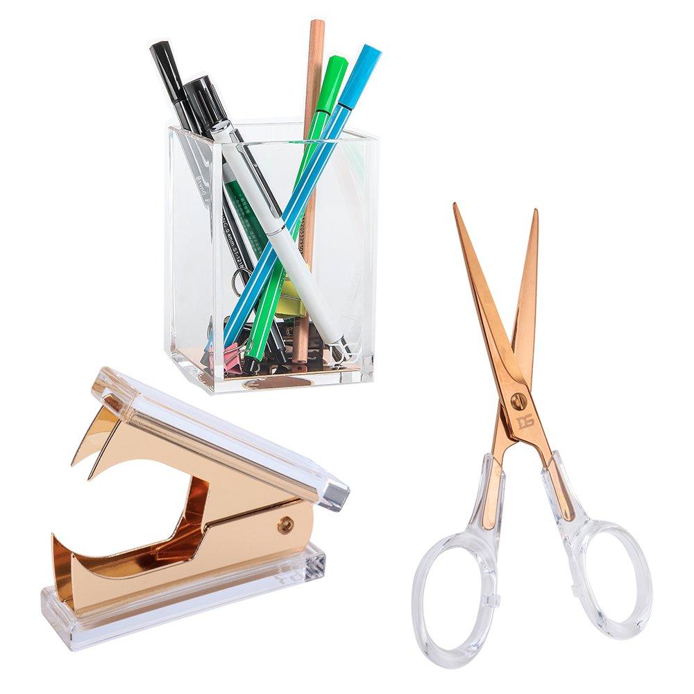 Draymond Story Acrylic Office Supplies Bundle 1) Staple Romovers 1) Scissors 1) Pen Holder (Desktop Stationery)