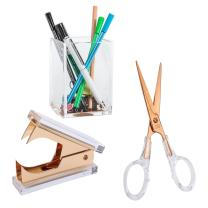 Draymond Story Acrylic Office Supplies Bundle 1) Staple Romovers 1) Scissors 1) Pen Holder (Desktop Stationery)