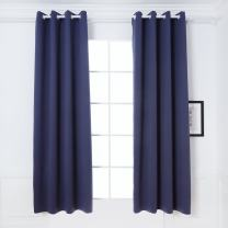 DREAM ART Thermal Insulated Blackout Darkening Room Curtain Blocks Light Noise Reducing Drapes for Living Bed Room Nursery Kids Room Bathroom Curtains 2 Panels W52xL84(132cmx213, Blue