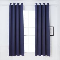 DREAM ART Thermal Insulated Blackout Darkening Room Curtain Blocks Light Noise Reducing Drapes for Living Bed Room Nursery Kids Room Bathroom Curtains 1 Panel W52xL95(132cmx241, Blue
