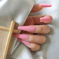 Florry Coffin Extra Long Fake Nails Ballerina Press on Nails Matte Acrylic Nails for Women and Girls 24Pcs (Light pink)