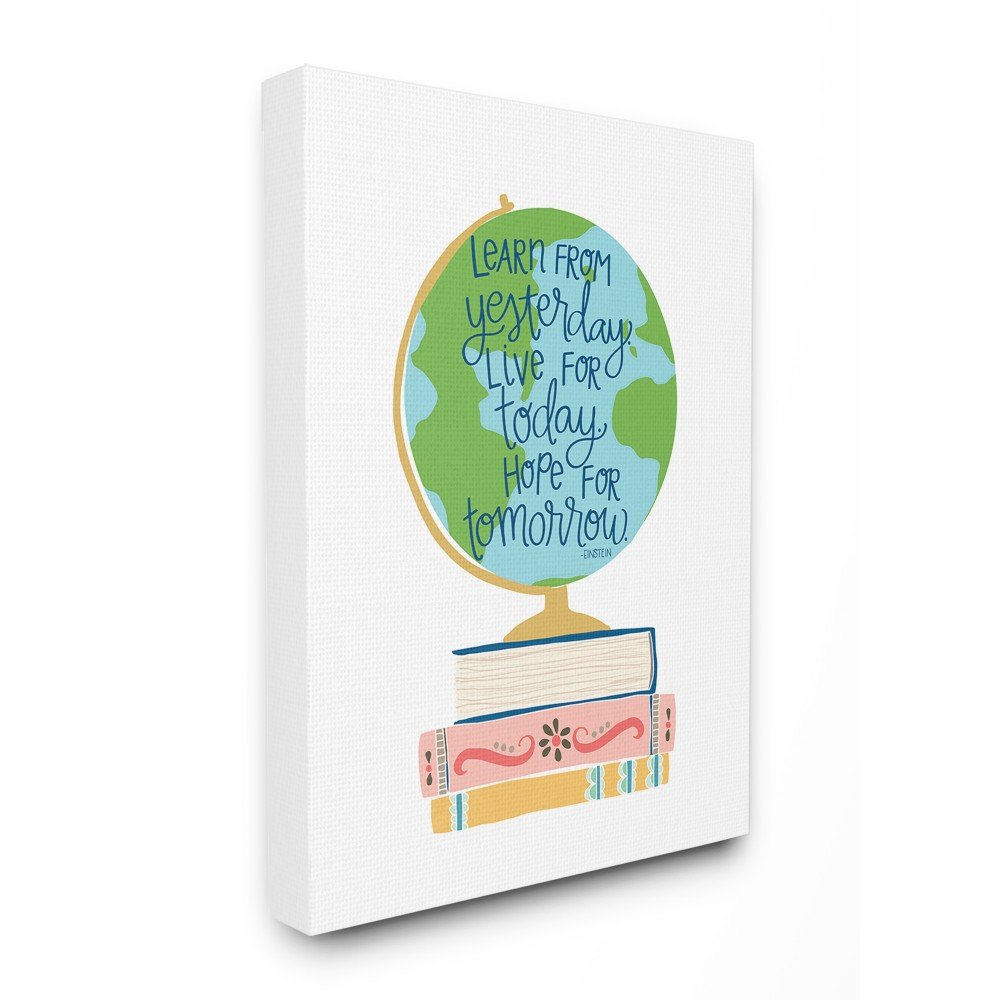 The Kids Room by Stupell Einstein Learn From Yesterday with Globe and Books Oversized Stretched Canvas Wall Art, 24 x 1.5 x 30, Proudly Made in USA