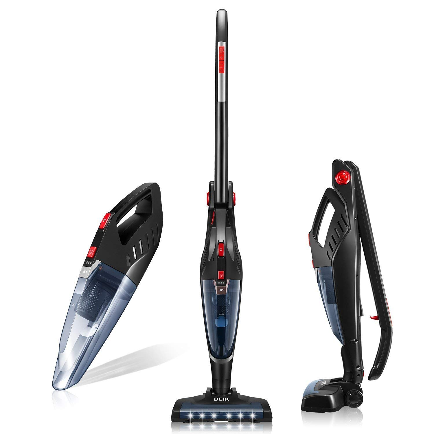 Deik Cordless Stick Cleaner Lightweight 2 in 1 Handheld Vacuum with Rechargeable Lithium Ion Battery and LED Brush for Floor Carpet Pet Hair, Up to 60 Mins, Medium, Black