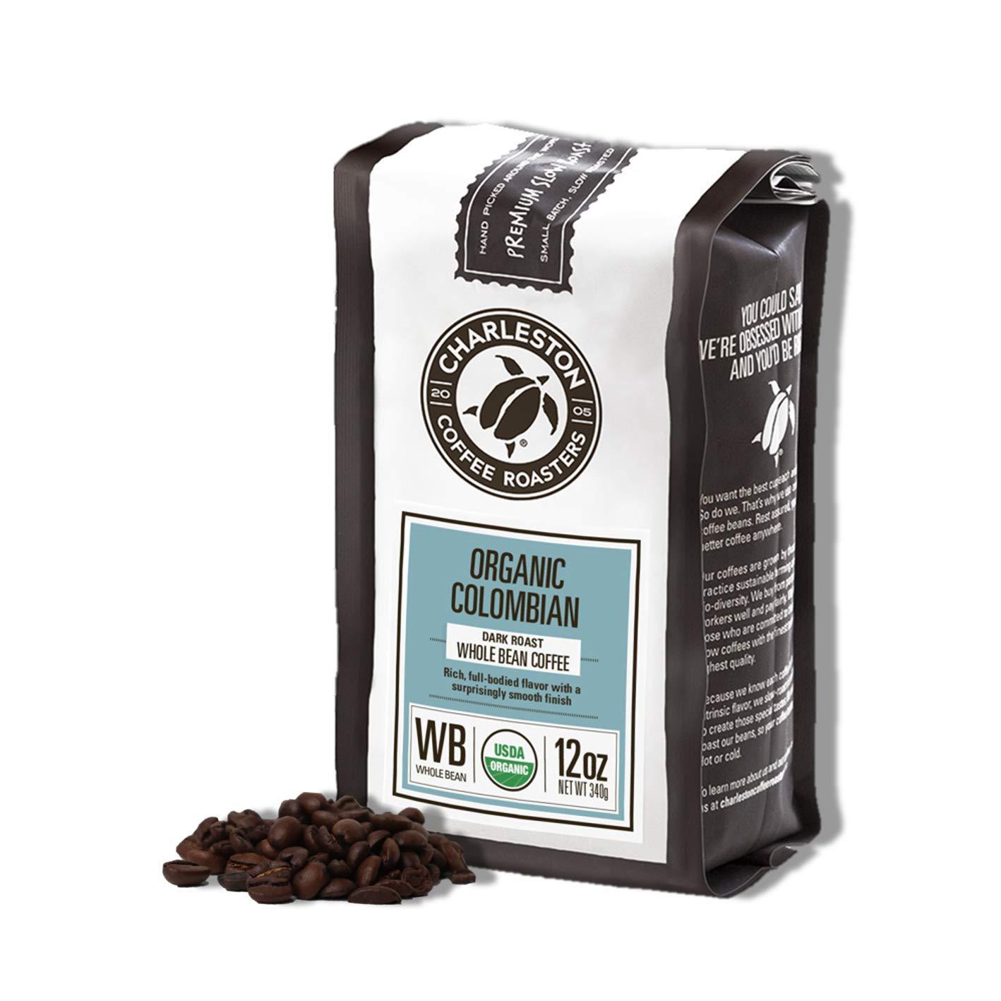 Charleston Coffee Roasters | Specialty Organic Ground Bag | Hand Picked, Premium Slow Roast (Colombian, Dark Roast) 12oz