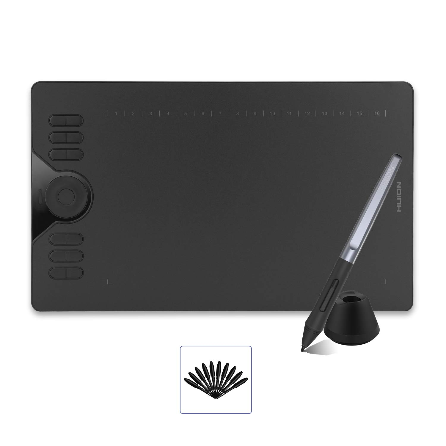 HUION HS610 Drawing Tablet Android Support OTG Graphics Tablet with Battery-Free Stylus 8192 Pressure Sensitivity Tilt Touch Ring for Artist Animation Beginner-10x6.25 inch