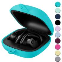 Hamile for Powerbeats Pro Case, Portable Protective Soft Silicone Cover for Beats Pro 2019 Wireless Earphones Case, Anti-Lost & Shockproof Easy Carrying Replacement Skin with Carabiner, Teal
