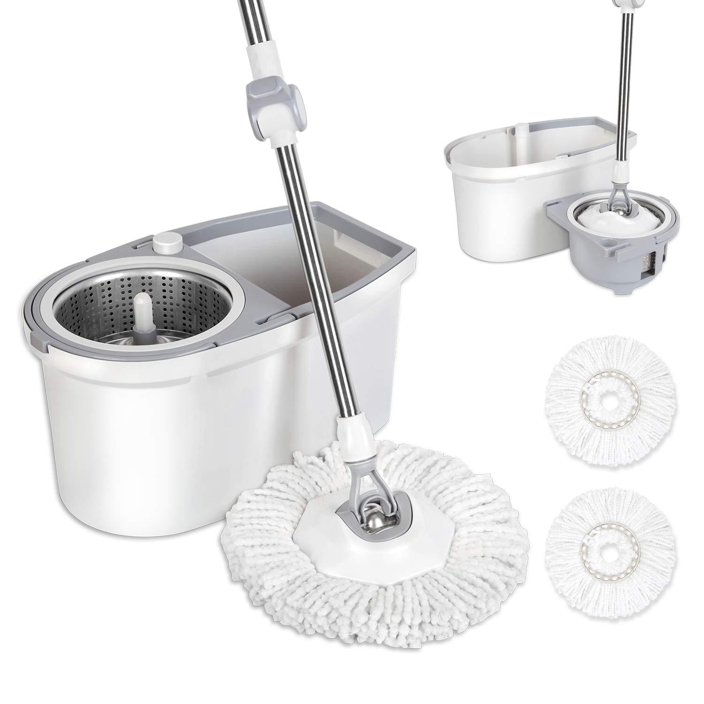 360° Spinner Floor Cleaner Mop /& Bucket With Adjustable Handle /& Mop Head Set