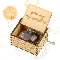 Imncya You are My Sunshine Wood Music Boxes, Hand Crank Antique Laser Engraved Vintage Wooden Musical Love Theme Gifts Box for Birthday/Christmas/Wedding/Valentine's Day, Brown