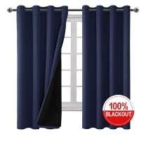 Hiasan Double Layer 100% Blackout Curtains for Bedroom - Grommet Thermal Insulated & Total Light Blocking Window Curtains for Living Rooom Kids Room, 52 x 72 Inches Long, 2 Panels