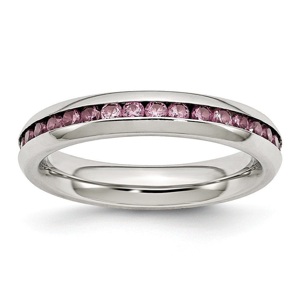 ICE CARATS Stainless Steel 4mm June Pink Cubic Zirconia Cz Band Ring Birthstone Fashion Jewelry for Women Gifts for Her