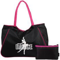 kilofly Girl's Water Resistant Ballet Dance Shoulder Bag Handbag + Beauty Pouch