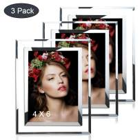 JUOIFIP 3 Pack Picture Frames Real Glass 4x6 Modern Glass Photo Frame Set Perfect for Wedding, Offices, Restaurants, Business