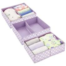 mDesign Soft Fabric Dresser Drawer and Closet Storage Organizer Bin for Child/Kids Room, Nursery, Playroom - Divided 2 Section Tray - Polka Dot Print, 3 Pack - Light Purple/White