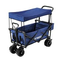 ENKEEO Collapsible Push Wagon Folding Beach Cart Utility Pull Garden Wagon with Removable Canopy, Large Wheels and Tilting Handle for Camping Picnic Park Sporting Events Concerts Shopping (Navy)