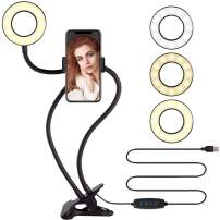 Selfie Ring Light with Cell Phone Holder,VARIPOWDER LED Ring Light with Flexible Arms for YouTube/Live Stream/Makeup/Vlog 3 Lighting Modes, 10 Adjustable Brightness,Compatible Android,iPhone(Black)