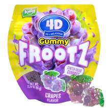 Amos 4D Gummies Grape Candy Juice Filled Center Frootz Mini Grapes Contains Real Fruit Juice Natural Colors And Flavors No Preservatives 2.29Oz Per Bag (12 Bags)