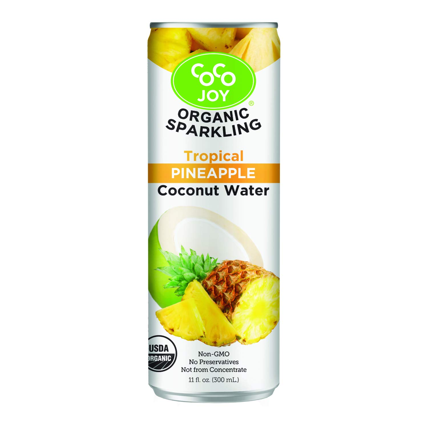 100% Organic Premium Sparkling Coco Joy Coconut Water 11 Fl oz Can - Tropical Pineapple - 12 Pack - Refreshing, Non-GMO, Packed with Electrolytes, No Preservatives