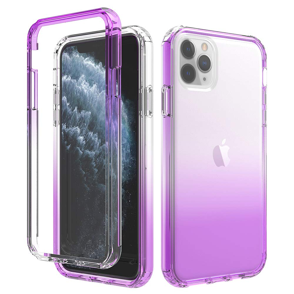 HUIYCUU Compatible with iPhone 11 Pro Max Case,Shockproof Drop Protection Anti-Slip Cute Gradient Color Crystal Clear Design Hybird Slim Soft Bumper + Hard Back Cover Case for iPhone 11Pro Max, Purple