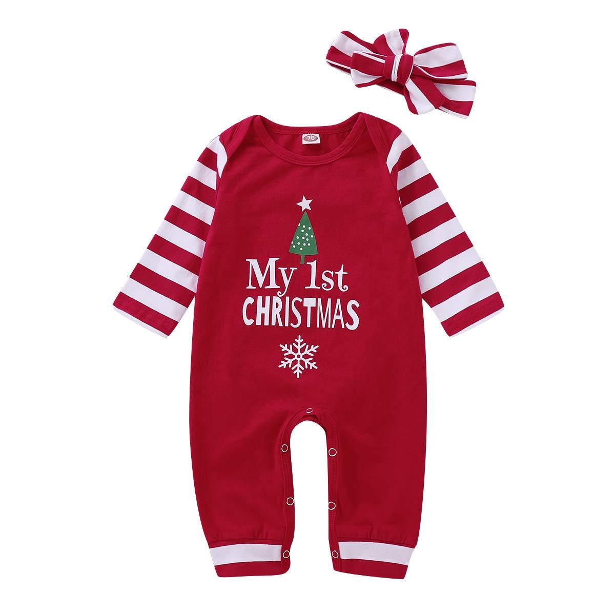SOBOWO Christmas Romper Baby Boys Girls Long Sleeve Pajamas Jumpsuit Xmas Outfits + Hat