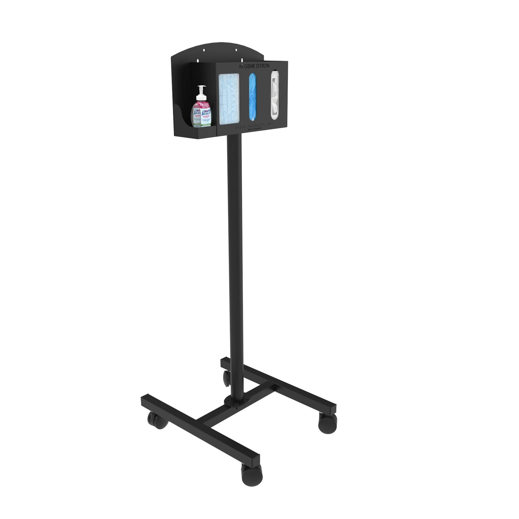 Respiratory Hygiene Sanitation Station by Versa Products   4 Compartments   18-Gauge Powder-Coated Steel   Mobile (4 Compartment, Black)