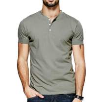 Lotmat Henley T Shirts for Men Casual V Neck Short Sleeve Fitted Summer Men Tee