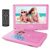 """DBPOWER 11.2"""" Portable Kids DVD Player with Built-in Rechargeable Battery, 9"""" Swivel Screen, SD Card Slot and USB Port,1.8M Car Charger and 1.8M Power Adaptor (Pink)"""