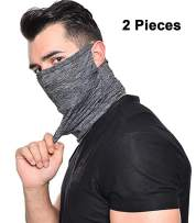 Neck Gaiter Sun UV Protection Magic Face Cover Scarf Dust Wind Bandana Balaclava Headwear for Fishing Hiking Cycling (T1-Ear hanging-2PCS-2Grey)