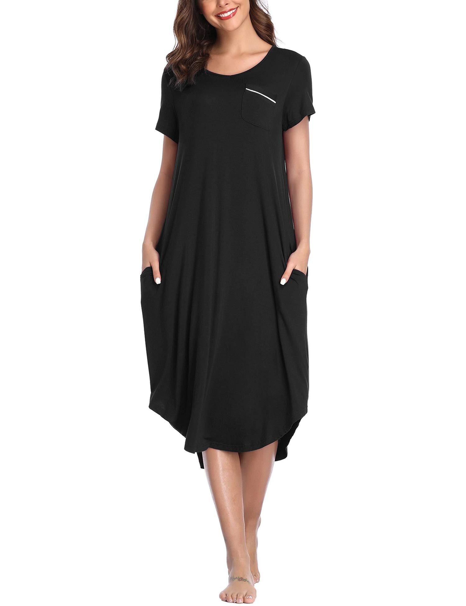 Lusofie Sleepwear Women Short Sleeve Nightgown V Neck Night Shirt Soft Sleep Dress with Pockets