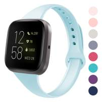 DYKEISS Sport Slim Silicone Band Compatible with Fitbit Versa/Versa Lite Edition, Thin Soft Narrow Silicone Replacement Strap Wristband Accessory for Fitbit Versa Smart Watch (Small, Sky Blue)