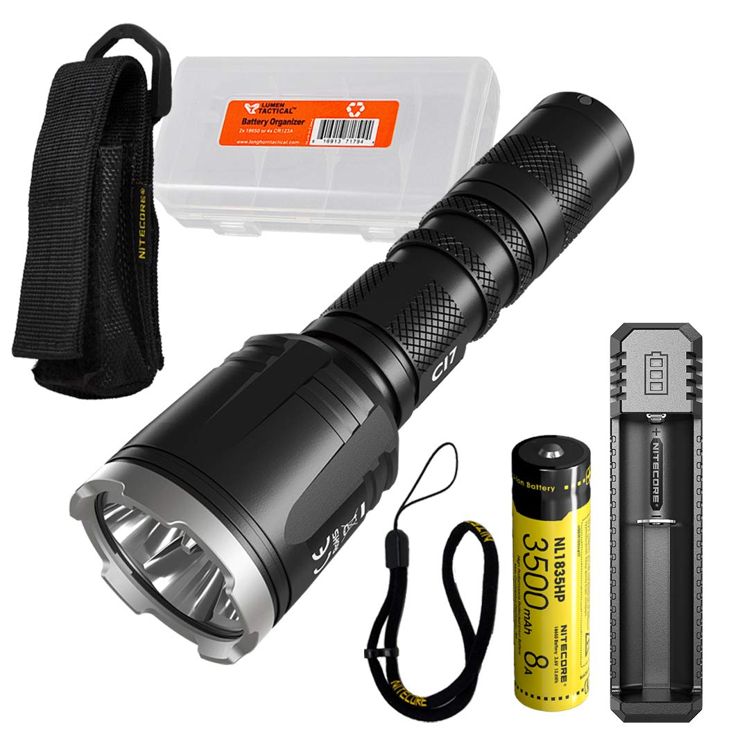 NITECORE CI7 2500 Lumen Tactical Flashlight with 7000mw 940nm Long Range Infrared IR Illuminator and NITECORE NL1835HP Battery, NITECORE UI1 Battery Charger, LumenTac Battery Organizer