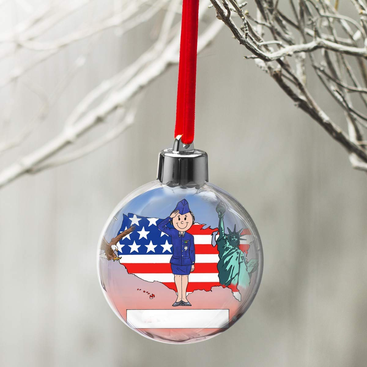 PrintedPerfection.com Personalized Friendly Folks Cartoon Globe Christmas Ornament: US Air Force Soldier - Female
