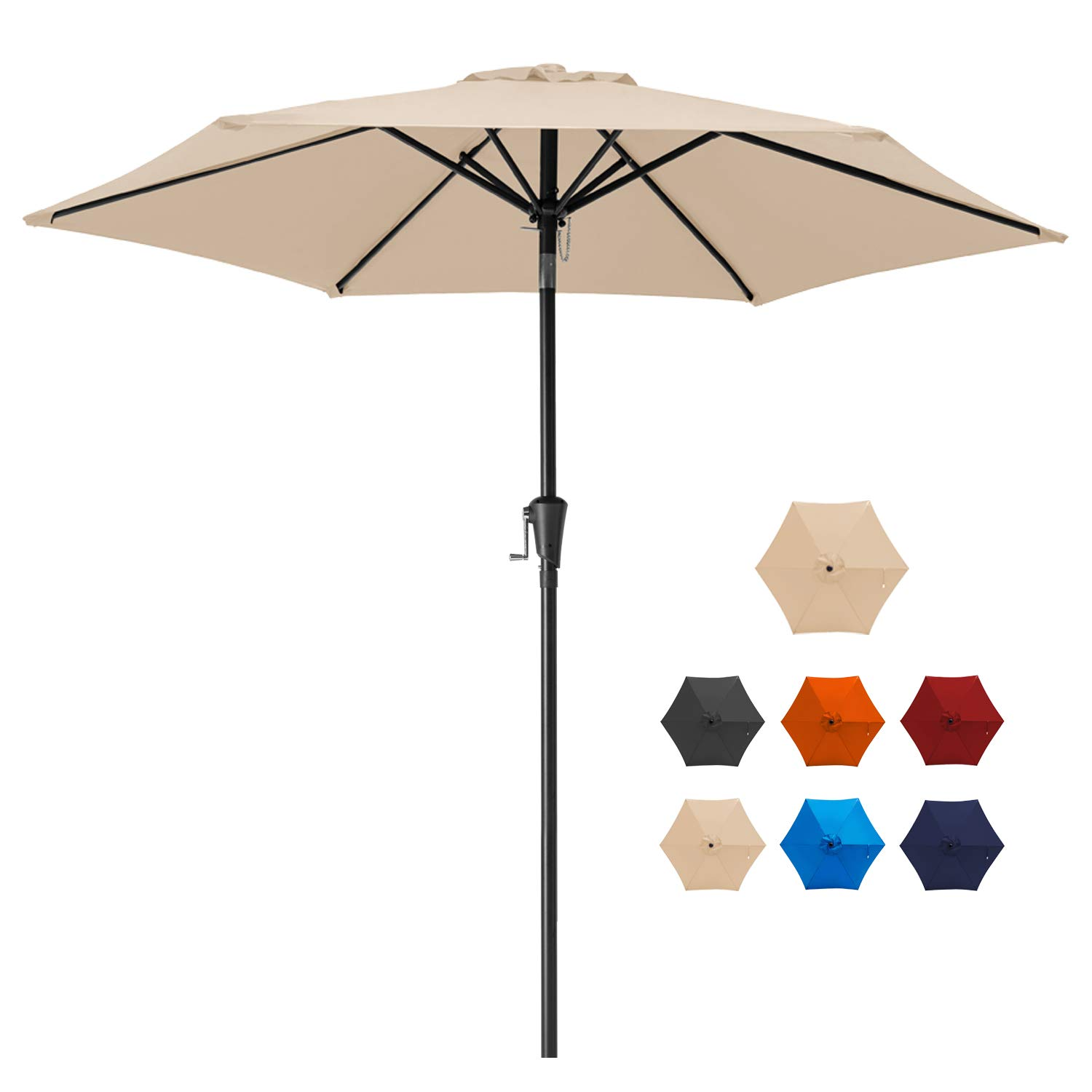 MUCHENGHY 7.5ft Patio Table Umbrellas UV Protection Large Outdoor Umbrella Sunbrella Wind Resistant with Push Button Tilt and Crank,6 Sturdy Ribs