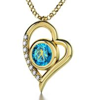 """Nano Jewelry Gold Plated Libra Heart Necklace Zodiac Pendant for Birthdays 23rd September to 23rd October 24k Gold Inscribed with Star Sign and Symbol on Swarovski Crystal Stone, 18"""" Chain"""