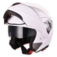 AHR Run-M Full Face Flip up Modular Motorcycle Helmet DOT Approved Dual Visor Motocross White M