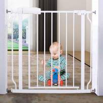 ALLAIBB Walk Through Baby Gate  Auto Close Tension White Metal  Child Pet Safety Gates with Pressure Mount for Stairs,Doorways and Baniste 29-33.8 in