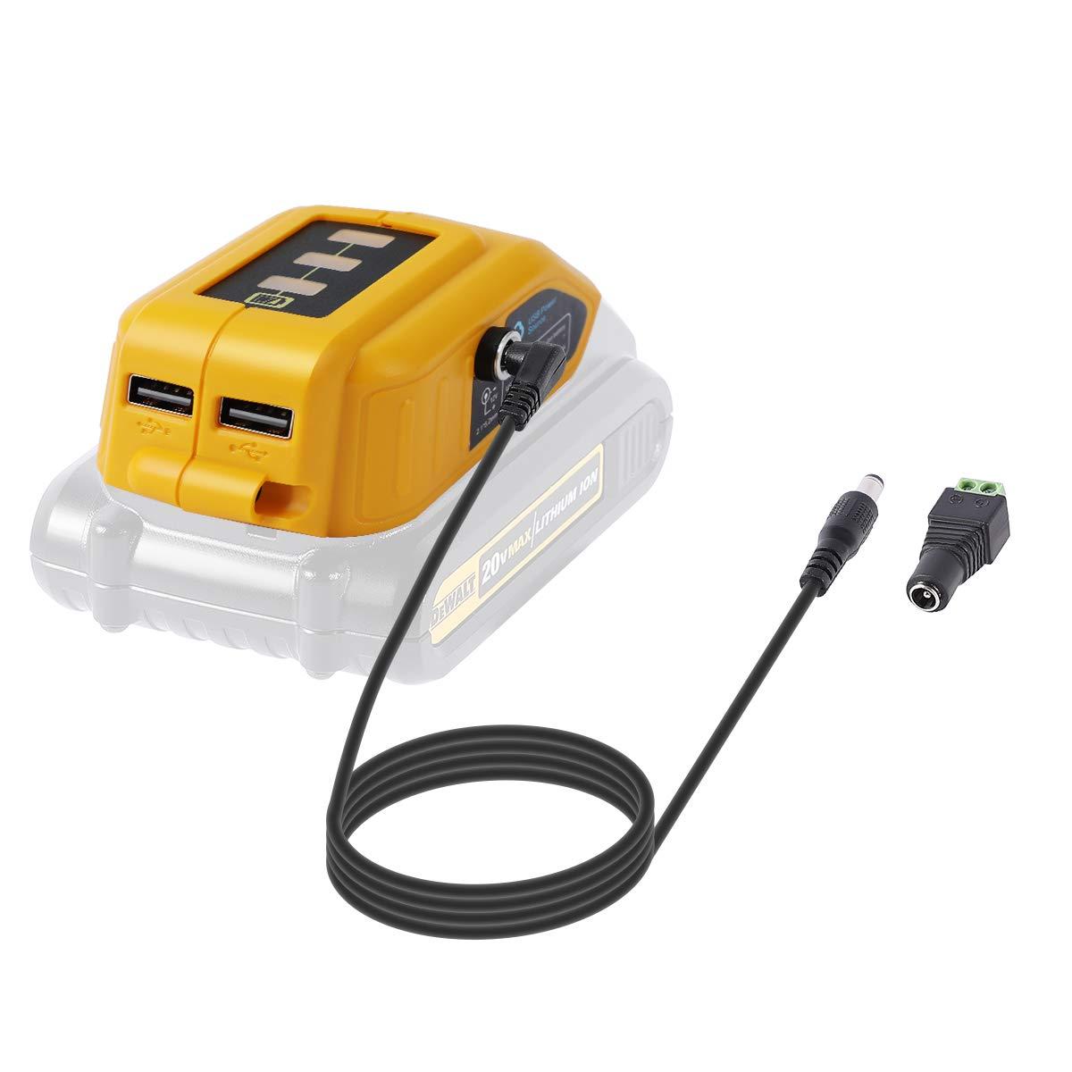 LANMU Battery Adapter for Dewalt 18V/20V Lithium Ion Battery,TS100 Soldering Iron,USB Charger for Dewalt,Power Source,Power Supply for Dewalt DCB090 DCB091 (Yellow)