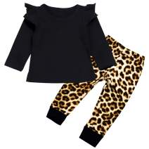 Toddler Baby Girls Clothes Daddy's Little Girl Sweatshirt Tops Leopard Print Pants Fall Winter Outfits Set
