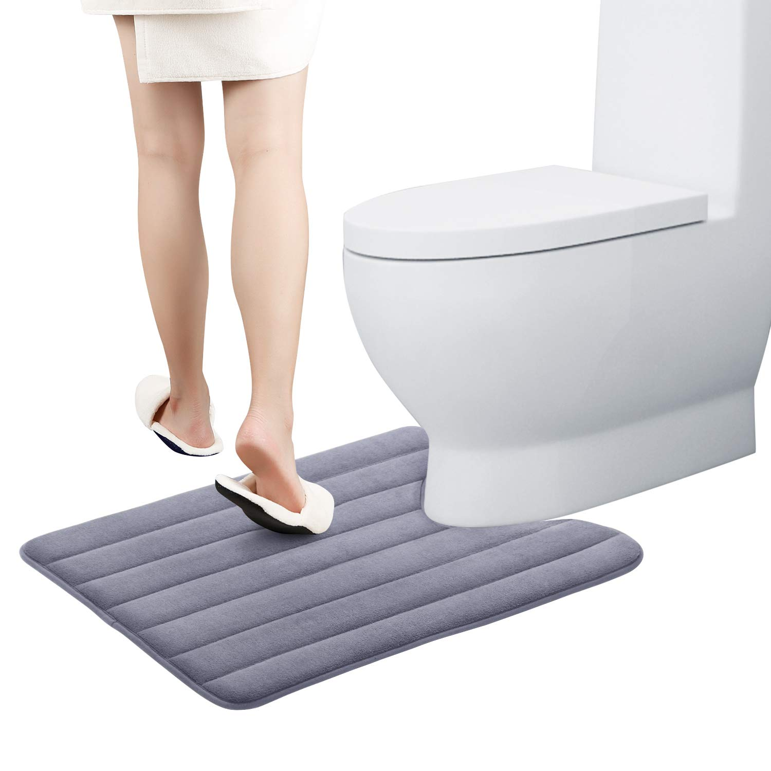 """KMAT Toilet Bath Mat U Shaped Memory Foam Bath Rug Toilet Mat for Bathroom Quick Absorbent and Non-Slip, Machine Washable, Larger Size 20""""x24"""" fit Most Toilets Commodes Contours (Grey)"""