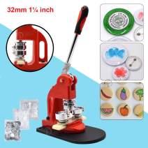 Red Button Maker Machine 32mm 1¼ inch Button Badge Maker Pins Punch Press Machine Aluminum Frame 300pcs Free Button Parts + Circle Cutter (32mm 1¼ inch)