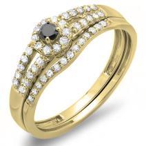 Dazzlingrock Collection 0.40 Carat (ctw) 14K Gold Round Black & White Diamond Ladies Halo Style Bridal Engagement Ring Set