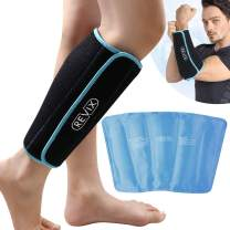 REVIX Calf and Shin Gel Ice Packs for Injuries Reusable Leg Cold Pack Wrap Cold Therapy Compression Sleeve for Swelling, Bruises and Sprains, Shin Splints Leg Pain Relief Support