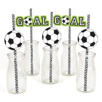 Big Dot of Happiness Goaaal - Soccer Paper Straw Decor - Baby Shower or Birthday Party Striped Decorative Straws - Set of 24