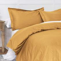 100% Cotton Duvet Cover Set Mustard Yellow Twin, Reversible Classic Damask Pinstripe Pattern Royal Hotel Style, 400TC Long Staple Cotton with Sateen Woven for Max Cool and Breathable Touch