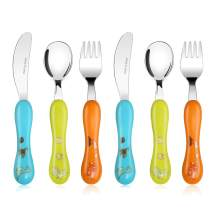 Lehoo Castle Toddler Utensils 6pcs Toddler Fork and Spoon Knife set, Safe Kids Silverware Stainless Steel, Silverware for Toddlers, Children Flatware (Dinosaur World)