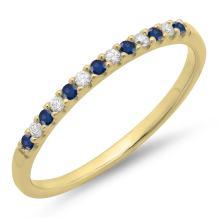 Dazzlingrock Collection 14K Gemstone & Diamond Anniversary Wedding Stackable Band, Yellow Gold