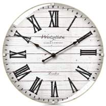 Westzytturm Wood Wall Clocks Battery Operated Non Ticking Silent White 12 inch Large Decorative Farmhouse Vintage Rustic, for Bedrooms Living Room Kitchen Office