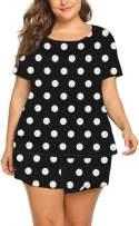 Beocut Plus Size Pajamas Womens Pajama Sets Shorts Summer Short Sleeve Pjs Cute Print Pj Sleepwear