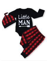 TUEMOS Newborn Baby Boy Clothes Little Man Hoddie Sweatshirt Romper Top+Plaid Long Pant Outfits