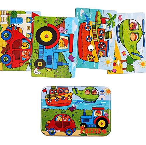 Kids Puzzles for Toddlers 3 Years, 4 in 1 Wooden Jigsaw Puzzles with a Storage Box (Drivers Series)